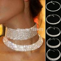 Mariage Trendy Party Prom Collier Choker 5 Rangée Crystal Stretch strass élastique cordon Pageant