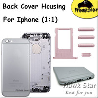 Wholesale Iphone Volume Replacement - For iPhone 5 5S 6 6S Plus Apple Housing Back Cover Battery Door Replacement Metal With Card Tray Volume Control Key Power Button Mute