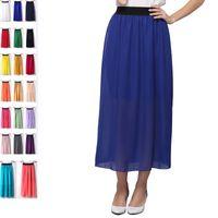 Wholesale Wholesale Long Pleated Maxi Skirts - Womens High Waist Pleated Long Skirt Ladies Casual Beach Maxi Skirts saia faldas Colorful Free Shipping Dropship 100pcs lot DHL