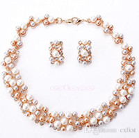Wholesale Good Pearl Ring - Luxury Pearls Crystal Necklace Earrings Wedding Party Necklace Earrings Bridal Jewelry Sets Brand New Good Quality