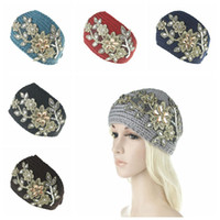 Wholesale crochet flower headband woman for sale - Group buy Women Fashion Hair Jewelry Wool Crochet Headbands Knit Hair bands Flower Winter Ear Warmer Wool hair bands