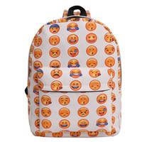 Wholesale Canvas School Book Bags Wholesale - Emoji Infantry Pack Portable Both Shoulders Travel Book Bag Multicolor Teenagers School Canvas Rucksack For Children 15 xx C R