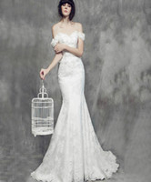 Wholesale Cheap Mermaid Wedding Dresses Online - Mermaid Wedding Dresses Vintage Online Cheap Sweep Train Bateau Lace-up Sexy Bridal Wear Elegant Wedding Dresses New Arrival 2016