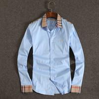 Wholesale Design Fashion Formal Dress - Wholesale-2016 New Design Fashion Collar Business Mens Dress Shirts Long Sleeve Formal Men Casual Shirts Office Clothing Plus Size XXXL