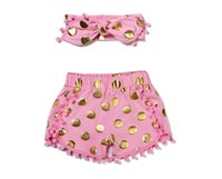 Wholesale Leopard Pants For Babies - 2016 polka dot shorts for baby girl tassel short pants + headbands set kids shorts Pom Pom shorts for babies children shorts leopard outfits