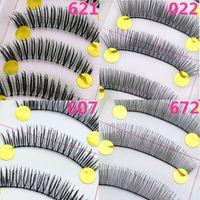 Wholesale Slim Thick False - 10pairs set Long Slim False Eyelashes Handmade Black Thick Natural Cross Fake Eye Lashes Extension Women Makeup Beauty Tools