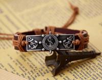 Wholesale Anchor Alloy Genuine Leather - Rudder Anchor Bracelets valentine's day Gifts Men Jewelry Genuine Leather Bracelets for Women Gifts Men Bracelet 100% New men bracelets