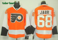Wholesale Wholsale Hockey Jerseys - Wholsale 2013 Philadelphia Flyers #68 Jaromir Jagr Orange Ice Hockey Jerseys Emboridered Logos Size 48-56 Free Shipping