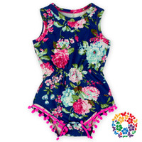 Wholesale Shabby Chic Flowers For Babies - Wholesale-12pcs lot Navy Blue Pink Hot Pink Floral Flower Pom Rompers For baby girls shabby chic romper, baby playsuit, baby floral romper