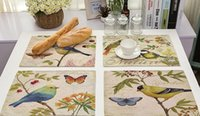 Wholesale Food Drawings - Animal series of cotton and linen cloth insulation western food placemat Hand draw birds rural style printing table mat Kitchen pad