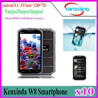 Wholesale Wholesale Unlocked Mobile Phones India - W8 IP68 Waterproof Cell Phone Unlocked Proofings Mobile Phone 8 Core 5.5 Inch 1280*720 Android 5.1 2GB 16GB Shockproof Smartphone YX-W8-02