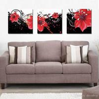 печать на холсте оптовых-Современный красивый цветок Fine Цветочные Живопись Жикле Печать на холсте Home Decor Wall Art Set30345