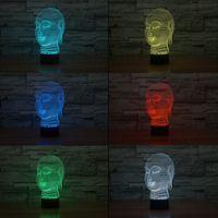 Wholesale Buddha Led Light - 3D Buddha Tathagata Night Lamp Optical Night Light 10 RGB LEDs DC 5V USB Powered AA Battery Bin Factory Wholesale