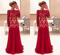 Wholesale Long Sleeves Wedding Mother - 2017 Cheap Elegent Red Mother Of the Bride Dresses Bateau Neck Long Sleeves Lace Appliques Chiffon Plus Size Formal Wedding Guest Dress