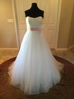 Wholesale Snow Ball Wedding - Sweetheart Tulle Ball Gown Wedding Dresses Snow White Timeless Beaded Flower Sash Pleated Bodice Chapel Train Real Picture Bridal Gowns 2016