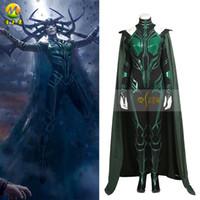 Wholesale Women S Goddess Costume - 2017 new free shipping Raytheon 3 gods dusk death goddess Hella Cosplay Halloween costume death goddess Hella