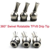 punta de goteo tfv8 inoxidable al por mayor-El precio más bajo 360 grados del acero inoxidable rotatorio TFV8 Drip Tip 810 Drip Tips para TFV8 TFV12 Kennedy 24 RDA Goon 528 atomizadores