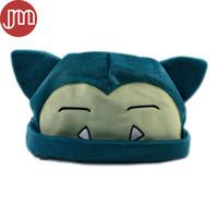 videos de animales gratis al por mayor-Nuevo Snorlax Hat Soft Plush Hat Anime Cartoon Cosplay Cap Head Custume Azul Aprox 8