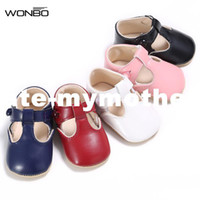 Wholesale baby white mary jane shoes - Baby Shoes Sweet Casual Princess Girls Baby Kids Pu Leather Solid Crib Babe Infant Toddler Cute Ballet Mary Jane Shoes T