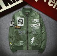 Wholesale Men Original Baseball Jacket - New jacket original tide card ROCK cartoon printing baseball clothing patch MA1 flight jacket men clothing