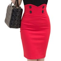 Wholesale High Waist Fitted Business Skirts - 2016 Slim Fit Bodycon Tight Skirt Business Wear Buttons Big Size Ladies Office Skirt High Waist Women Pencil Skirt S2193