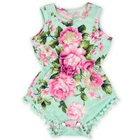 Wholesale Vintage Baby Outfits - Vintage Baby Floral Romper ,Pom Floral Baby Bubble Romper ,Summer Girls Sunsuit ,Floral birthday Newborn Outfit ,Baby playsuit