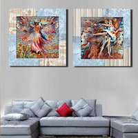 Peinture Abstraite Danseurs Pas Cher-50 * 50Cm Hôtel Chambre Décoration murale Abstrait Dancing Girl Peintures Colorful Ballet Dancer Living Room Unframed Wall Decor 2 Panels