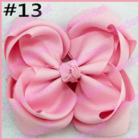 Wholesale Stacked Boutique Hair Bows - free shipping 30pcs 4'' double layered boutique hair bows stacked ABC hair bows girl hair accessories