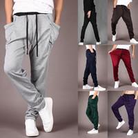 Wholesale Harem Dance Pants Wholesale - Mens Fashion Casual Harem Pants Baggy Trousers HIPHOP Dance Jogger Sport Sweatpants 8 Colors Sport Pants LJJG443