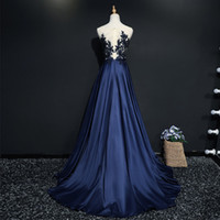 Wholesale Blue Acrylic Flower Brooch - New Arrival High Neck Royal Blue Evening Dresses Sleeveless 2017 Lace Beading A-Line Vestido de festa Evening gown Plus Size