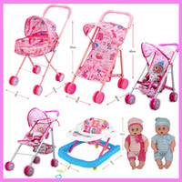 Wholesale Doll Prams - Baby Educational Pretend Play Folding Baby Stroller Toys with Dolls Walkers Umbrella Pushchair Pram Furniture Toys Set Gift
