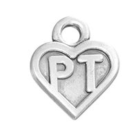 Wholesale Pt Necklace - Myshape Charms Jewelry silver plated heart charm engraved letter PT the pendant for bracelets necklaces making