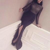 ingrosso abiti neri neri-2017 Fashion Net Bodice Sexy Black Jewel manica lunga lato Split Evening Dress collo alto abito formale usura formale occasione