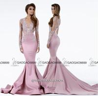 ingrosso trombe leggeri-Collezione Walter Light Pink Stain Stain manica lunga Dubai Arabo Prom Party Abiti formali Scollo a V Tromba Occasione Abito economico
