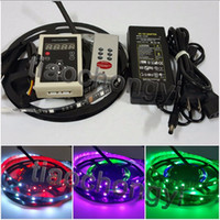 5M 5050 30led / m 150LED RGB Dream Color 6803 LED Strip Light Negro PCB No resistente al agua IP20,133 RF Remote, 5A 12V power
