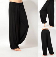 Wholesale Wide Leg Trousers Large - Wholesale-TaiChi Sport Pleated Capris Solid Loose Bloomers Wide Leg Pants Fitness Dance Wears Kung Fu Trousers Plus Large Size