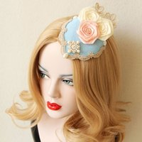 Wholesale wedding dress flower pins resale online - wedding hair clips Wedding hair pin blue Flower Hair Accessories Bridal Head Hats For Christmas Wedding Party dress Vintage Fascinator