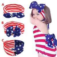 Wholesale Nationals Band - Baby star stripe national flag bowknot Headbands 3 Design Girls Lovely Cute American flag Hair Band Headwrap Children Elastic Accessories