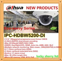 Dahua Eco-savvy Series IPC-HDBW5200-DI P2P Cúpula de Teto Vigilância Night Vision IR IP Camera com TF SD Card Slot 2.7 ~ 12mm varifocal