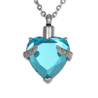 Wholesale Jewelry Holders For Necklaces - Lily Urn Pendant Necklaces Blue Diamond Cremation Jewelry Heart Memorial Keepsake Holder Pendant For Ashes with gift bag
