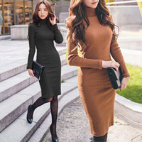 Wholesale Ladies Knee Length Sweaters - 2016 Autumn Winter New Women Dresses Long Sleeve Knit Sweater Dress Turtleneck Knee-Length Slim Lady Dresses Woman Clothing