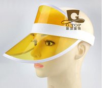 Vente en gros-3 pcs / lot plus récent Neon Sun Visière Peak Cap transparent plastique Sunvisor Party Hat Festival Fancy Dress Poker Headband