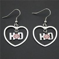 Wholesale Heart Shape Crystal Earrings - Cool 316L stainless steel biker jewelry ladies biker earrings red heart shape dangle