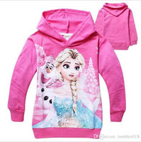 Wholesale Kids Clothes Size 95 - kids Hoodies children Hoodies 95% cotton girls coats cartoon Frozen 4 colors size for 2-7T children 2016 autumn winter kids clothing