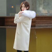 2016 Invierno Nueva Para Mujer Elegante Grueso Collar de Piel Con Capucha  Abrigos de Lana Larga Moda Blanca Manga Larga Mezcla de Lana Abrigo Abrigos  ... c0ccbf1762fd