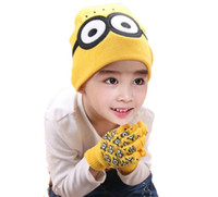 Wholesale Bobble Free - Retail Unisex Baby Cartoon Knit Bobbles Beanies Hat Set Children Kids Bear Design Caps And Gloves Warm 2 Pieces Set Free Shipping