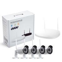 sistema de vigilancia hd al por mayor-Cámara CCTV IP inalámbrica Wifi 4 canales para exteriores HD 720P NVR Sistema 4PCS 1MP IR para exteriores Cámara IP P2P Sistema de vigilancia del sistema