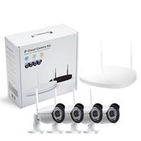 câmeras de segurança sem fio venda por atacado-CCTV Câmera IP Sem Fio Wi-fi 4CH Ao Ar Livre HD 720 P Sistema NVR 4 PCS 1MP IR Ao Ar Livre P2P IP Câmera de Segurança do Sistema de Vigilância Kit