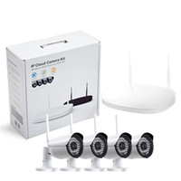 Wholesale Nvr Cameras - CCTV Camera IP Wireless Wifi 4CH Outdoor HD 720P NVR System 4PCS 1MP IR Outdoor P2P IP Camera Security System Surveillance Kit