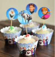 Wholesale Baby Cupcake Wrappers - Frozen Paper Cupcake Wrappers Cup Cake Toppers for Kids Birthday Decoration Favor Baby Shower Party Supplies